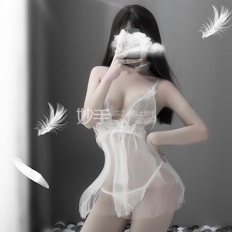 品贤 透明深V蕾丝吊带睡裙露背白色