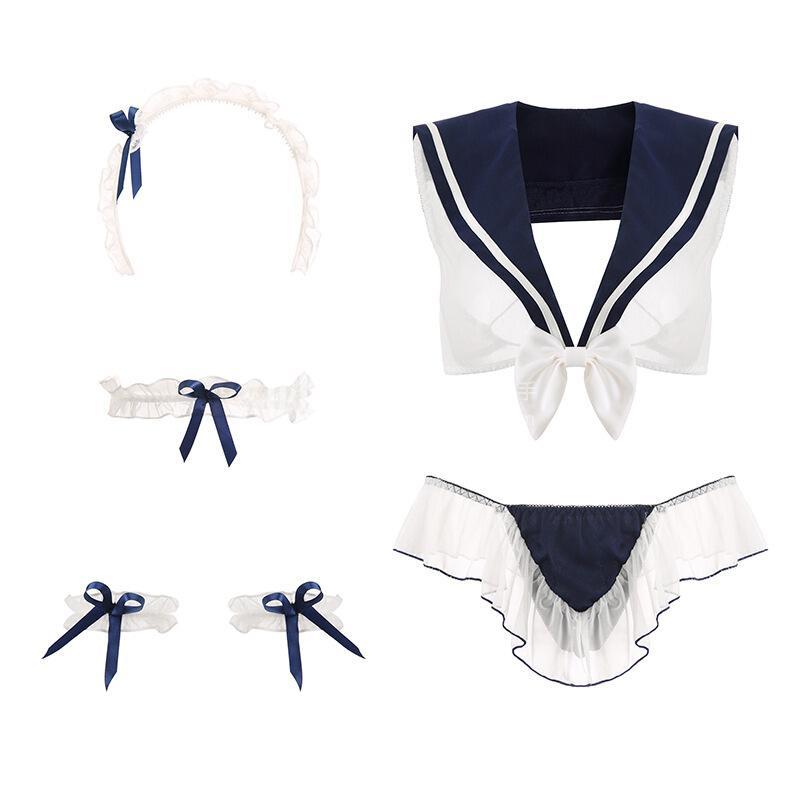 瑰若 可爱清纯学妹装性感超短裙制服套装503蓝色