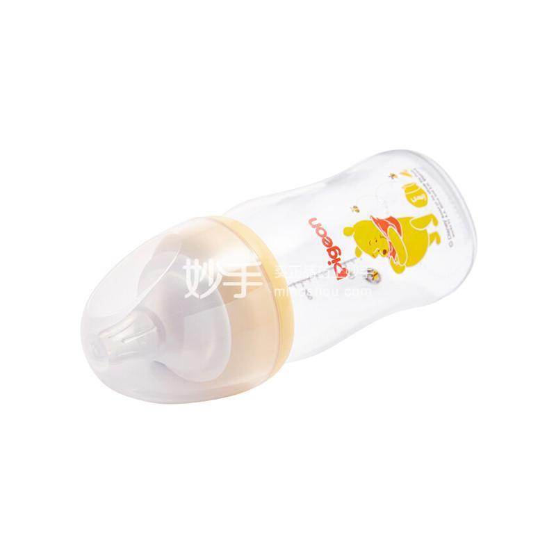 """贝亲Disney""""自然实感""""宽口径玻璃彩绘奶瓶160ml配SS奶嘴(维尼-蜜蜂)"""